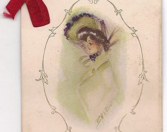 Victorian Greeting Postcard w/ a Ribbon Bow and a 1908 Calendar - 158