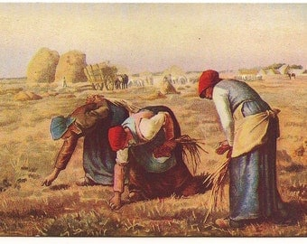 """Victorian """"The Gleaners"""" Real Art Pastoral Postcard - 84"""