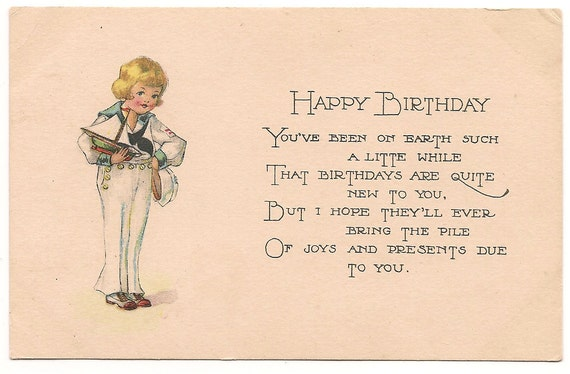 Victorian Birthday Greetings Postcard w/ by PecanHillPostcards