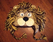 Animal Earflap Hat- Courageous Lion - All sizes newborn to adult