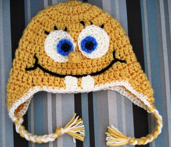 Items similar to Crochet Earflap Hat - Spongebob Square ...