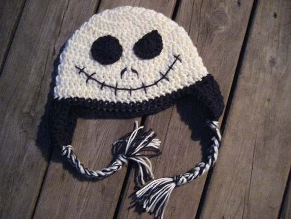 Crochet Jack Skellington : Items similar to Crochet Earflap Hat - Jack Skellington Style on Etsy
