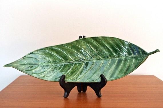 Large Green Ceramic Leaf  (ceramic, pottery, art, handmade)