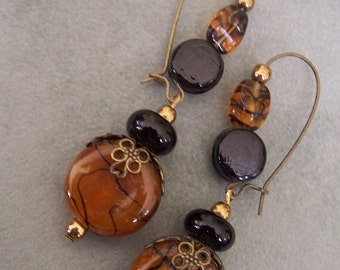 Butterscotch and Licorice - Beaded Dangle Earrings