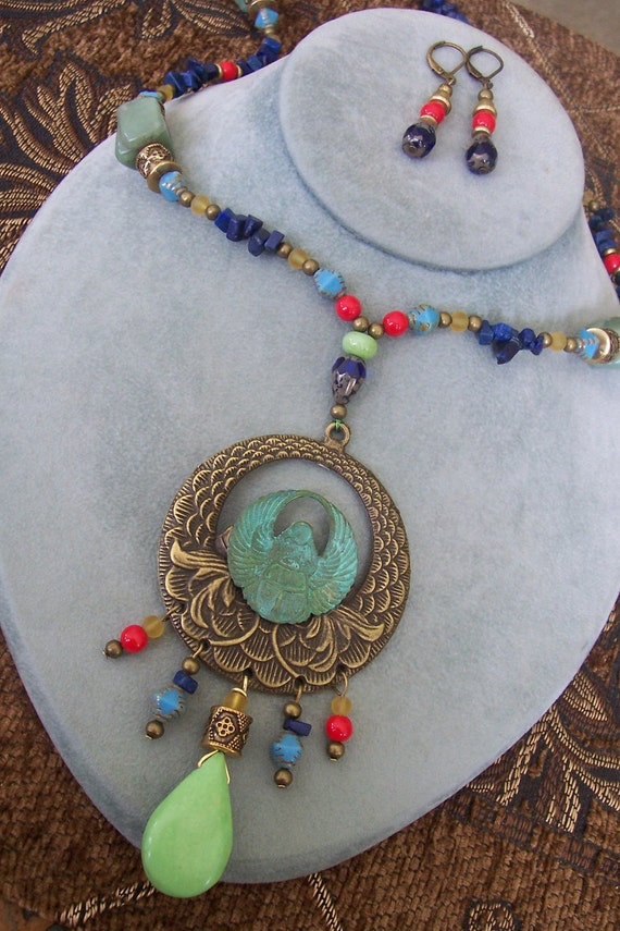Ancient Dreams - Egyptian Beaded Necklace and Earring Set