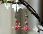 Red Japanese Origami Crane Earrings - RESERVED  for Leliedesign