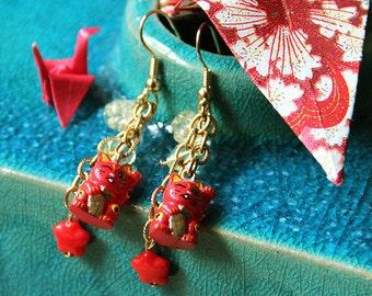 "Red Dangle ""Maneki Neko"" or ""Lucky Cat"" Earrings"
