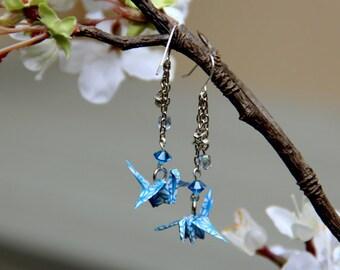 Blue Japanese Origami Crane Earrings