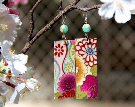 Colorful Japanese Fabric Dangle Earrings