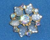 Brooch - Blue Satin Glass and Rhinestones - Vintage
