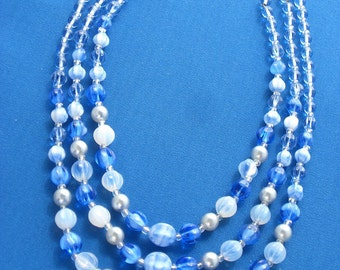 Bead Necklace - Glass Beads - Triple Strand - Blues - Vintage
