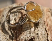 Rough Natural Citrine Ring - Size 8