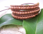 SALE!! Triple Wrap brown washed leather bracelet with peach metalic round beads