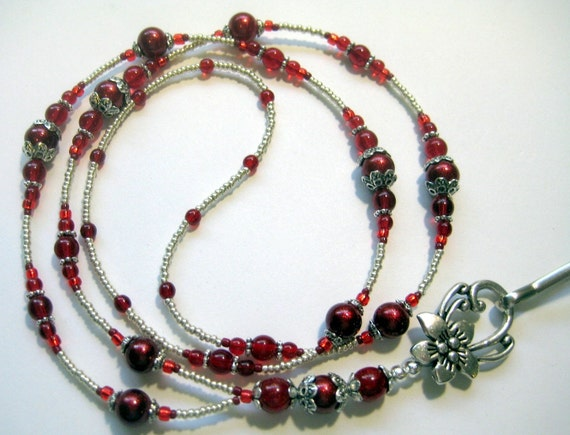 Red and Silver Beaded Badge Lanyard ID Badge Holder SRAJD