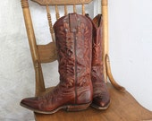 Vintage 80s embroidered leather cowgirl boots size 6