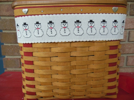 SALE - Completed Cross Stitch Snowman Basket Tie On