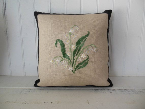 Lily of the Valley Completed Cross Stitch Pillow/Tuck In