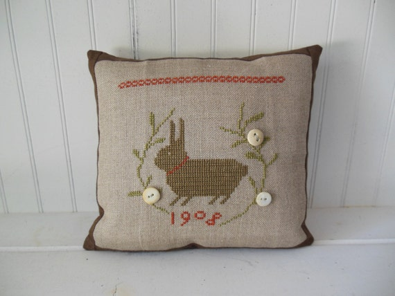 Completed Cross Stitch Primitive Bunny Pillow With Vintage Buttons, Cross Stitch Design by  With Thy Needle & Thread