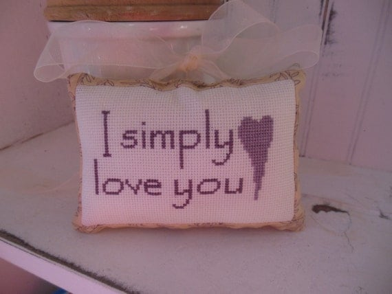 Completed Cross Stitch I Simply Love You Ornament, Tie On, Hanging Pillow in Lavender, sentiment