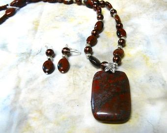 21 Inch Red Jasper and Copper Pearl Necklace with Pendant and Earrings