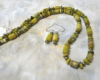SALE!   23 Inch Yellow Green Jasper and Green Pearl Necklace and Earrings