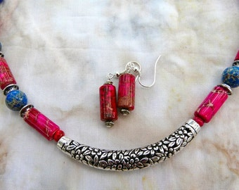 SALE!  19 Inch Blue and Pink Sea Sediment Jasper Silver Tube Collar Necklace and Earrings