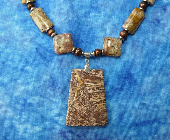 Picture Jasper and Pearl Necklace with Pendant and Earrings