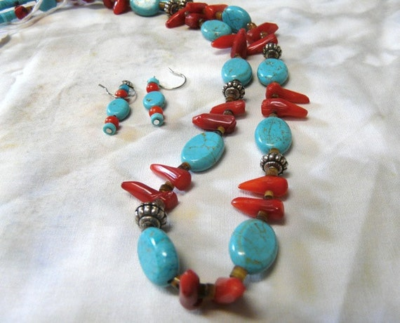 SALE!  Turquoise, Bamboo Coral and Shell Heishi Necklace an Earrings