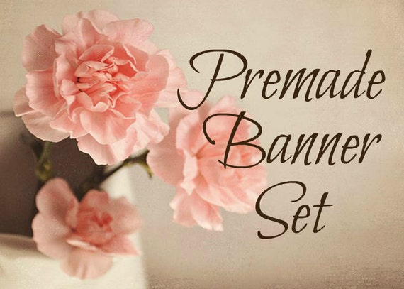 OOAK Banners Premade Banners Etsy Shop Set Floral Premade Banners Vintage Banner Etsy Shop Design Branding Package Premade Banner Set