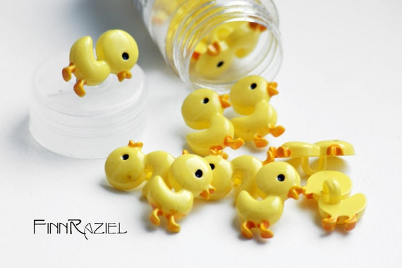 5 buttons small yellow duck 18x12mm for kids clothes