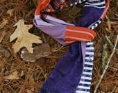 Cotton Scarf, Fashion Scarf, Woman Scarf, Purple Scarf, Striped Scarf, Upcycled