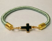 Mint Green Wrapped Bangle with 24k Gold Plated Black Cross Charm