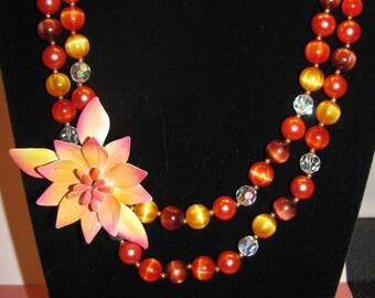 Lovely Elegant Handmade Vintage Flower Designed OOAK Aloha Flair Necklace