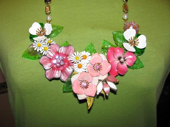 Sale Was 139.99 Handmade Vintage Enamel Sweet Heart Victorian Garden Bib Necklace Pendant