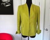 Vintage Jones New York Lime Green Linen Jacket-Size 12