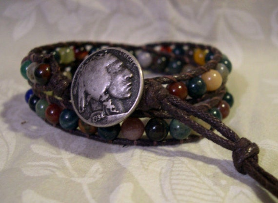 Double Wrap Beaded Bracelet Indian Agate - 03