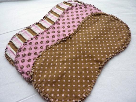 Baby girl burp cloth set of 3 : Flannel / Contoured / Baby burp cloths / Burp cloths / Burp rags
