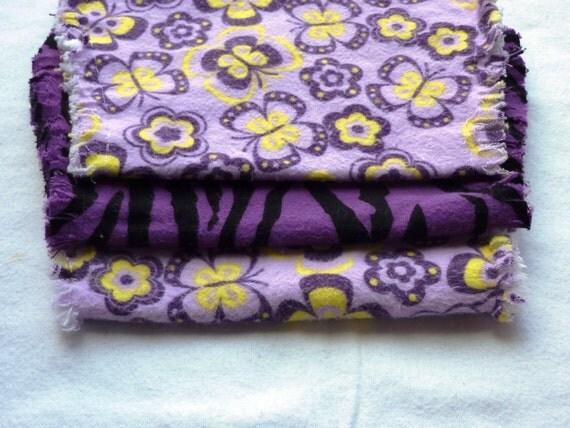 Baby girl burp cloth set of 3 : Flannel / Contoured / Baby burp cloths / Burp cloths / Flowers and butterflies