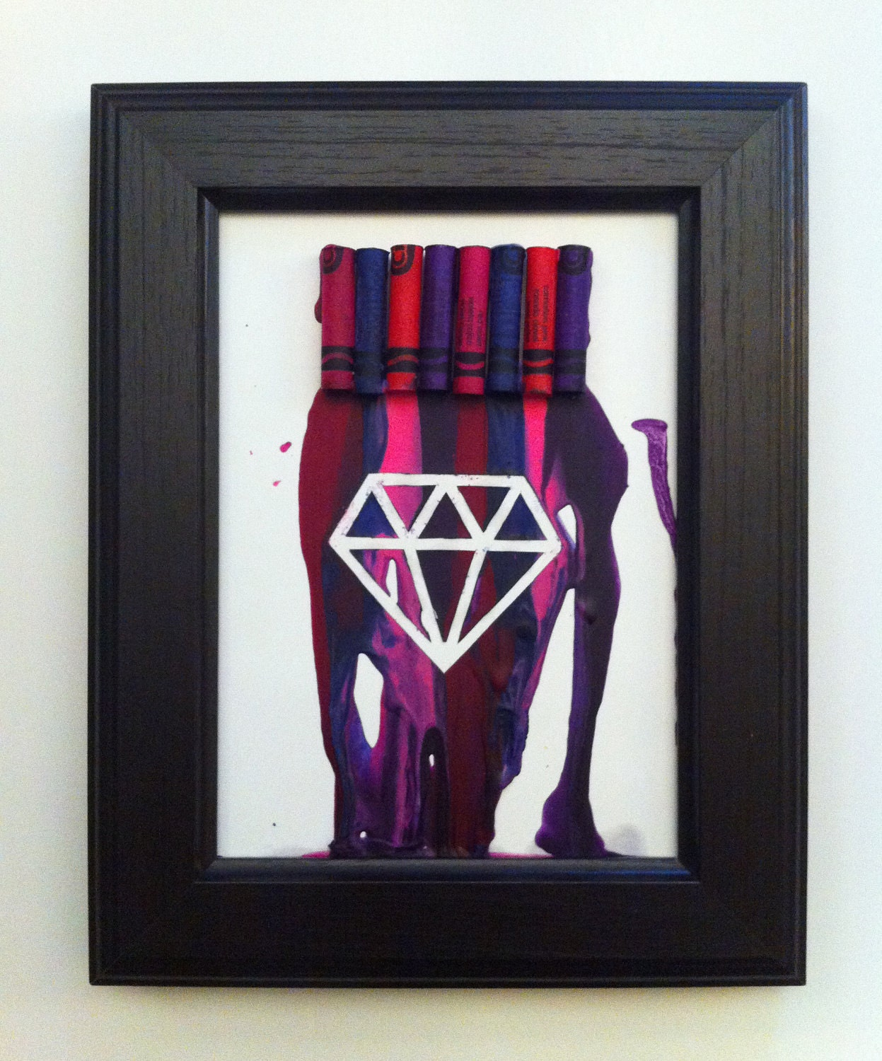 5x7'' Melted Crayon Diamond in red violet indigo