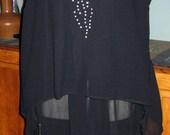 Sensational 20s Sheer Black Flapper Dress w/Rhinestone Detail
