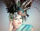 Stunning Artistic Bird whole turkey Wing and Peacock feathers sea shells beaded gothic tribal gypsy drape coque headdress headpeice wig