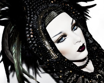 MADE TO ORDER  headdress vampy goth couture black feathers raven bird costume fantasy noir