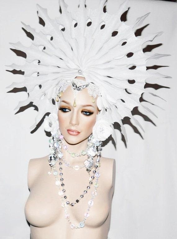 READY TO SHIP Ice Princess snow queen headdress headpiece fantasy winter wonderland