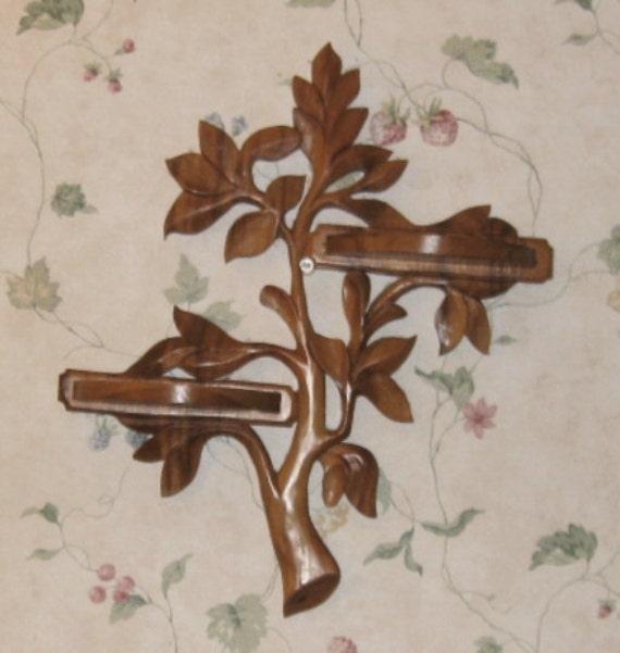 Vintage shelf wood bamboo tree of life carved home decor for Tree of life bookshelf