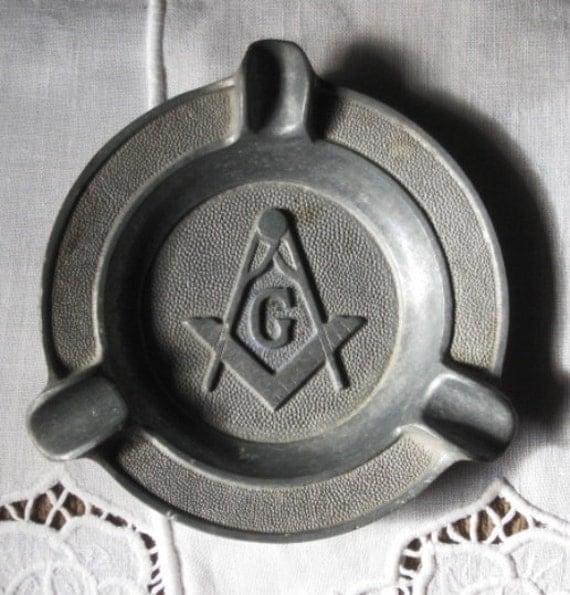 Vintage Art Deco Masons Masonic Metal Ashtray