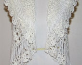 "Reserved Listing for ""A.S."" (Crochet Shrug with Drop Stitch in White)"