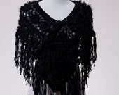 Hand Knit Crochet Poncho with Faux Fur threads in Black Color