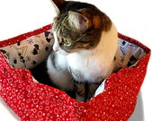 Retro Style Martini Pet Bed Red 12 In Square Slip-proof Base Faux Fur Dog Cat Couture Artistic Travel Collapsible Washable Drawstring Bag