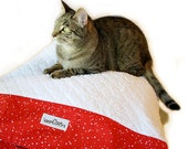 Red & White Pillowcase Pet Bed Cover Standard/Queen Size Slip-proof Waterproof Base Dog Cat Couture Travel Washable