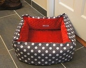 Gray Polka Dot Pet Bed CUSTOM Medium 16 In Square Slip-proof Base 37 Color Choice Dog Cat Couture Artistic Travel Collapsible Washable